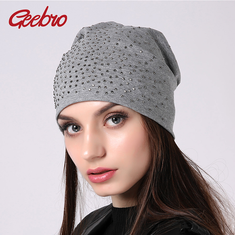Geebro Women's   Beanie   Hat Casual Rhinestones Cotton   Skullies     Beanies   Hats Bonnet   Beanie   Hats For Girls Knitted Female Cap JS305