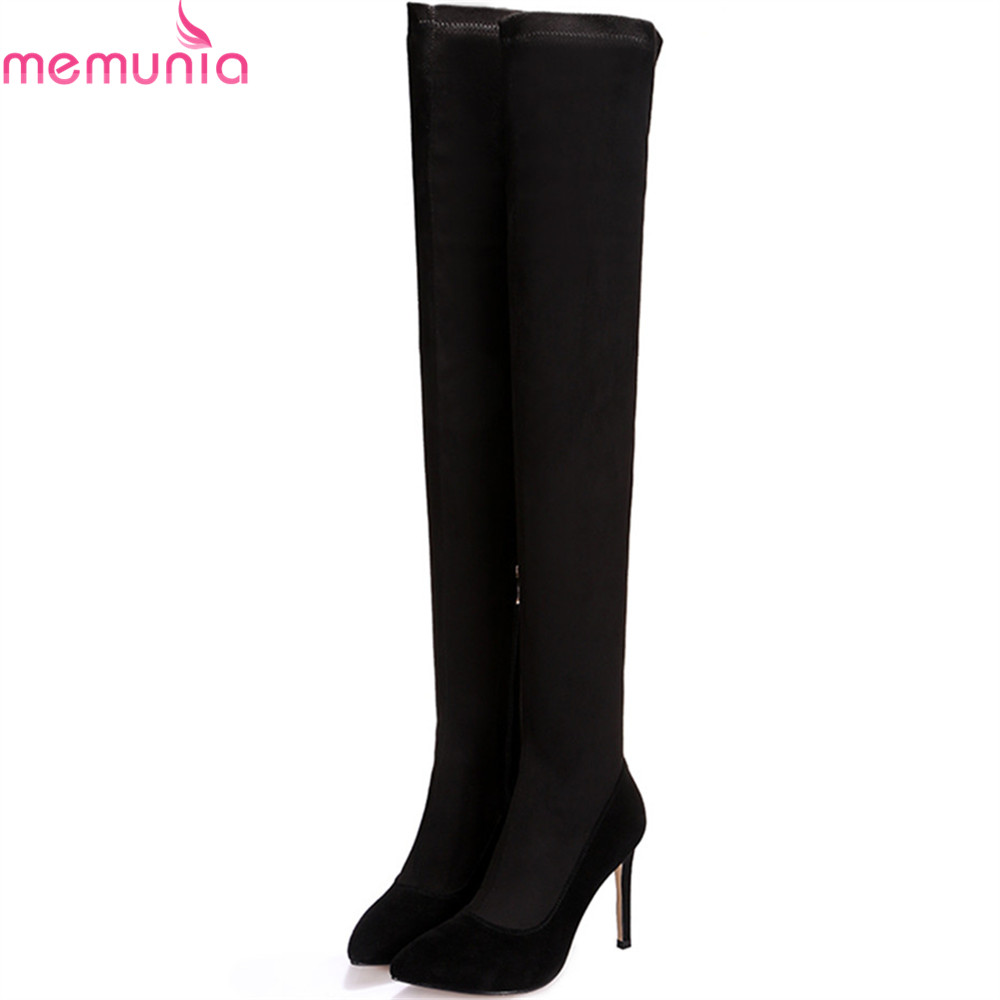 MEMUNIA fashion autumn winter new arrive women boots pointed toe kid suede ladies boots thin heel super high over the knee boots