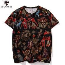 Aolamegs T Shirt Men Funny Printed Mens Tee Shirts Henry Collar Fashion Hip Hop High Street Tees Summer Streetwear