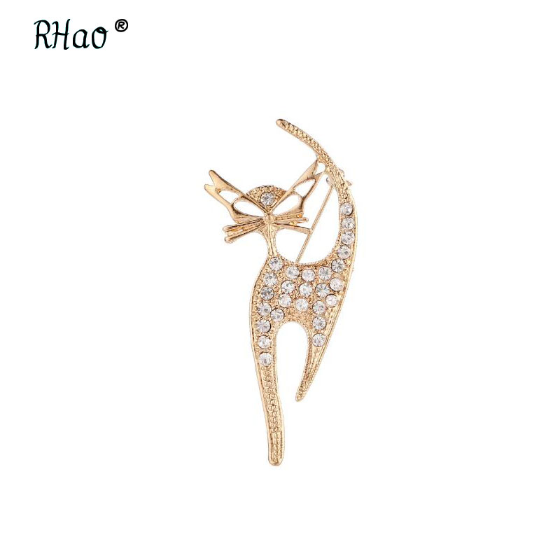 RHao Sexy Cat Brooches pins Crystal Cat animal Brooch for women mens suit corsage wedding brooch hijab pins girls jewelry pins