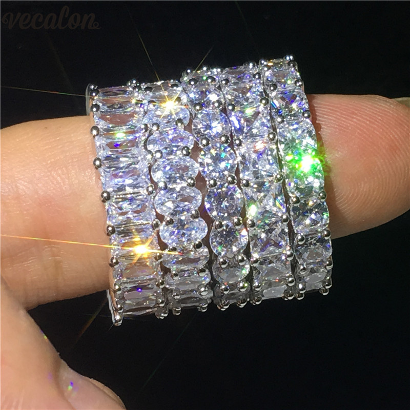 Vecalon 5 Style Finger Promise ring AAAAA Zircon Cz 925 Sterling Silver Engagement wedding Band rings for women Men jewelry bravkis wedding bands eternity rings with zirconia for women cz crystal promise engagement finger ring bague jewelry bur0279