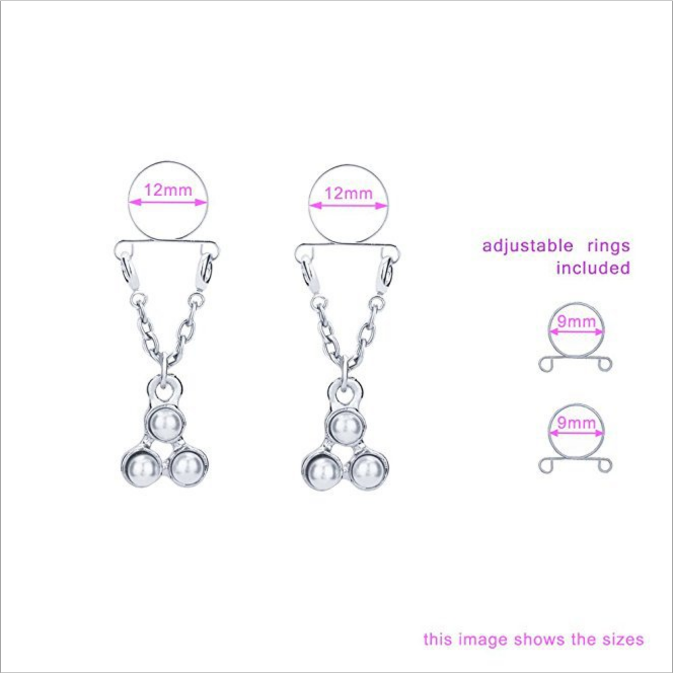 Blue Flower Nipple Ring Faux Nipple Ring Surgical Steel Nipple Piercing Body Piercing