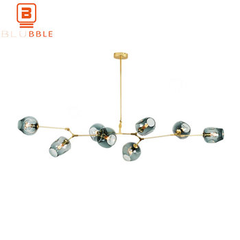 BLUBBLE 3/5/6/7/8/9 Heads Glass Ball Chandelier Lampadari Molecular Bubble Ball Art Deco Bedroom Droplight