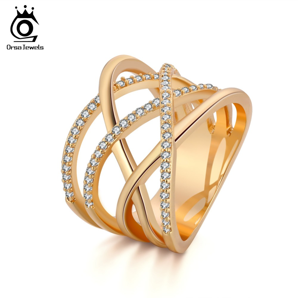 ORSA JEWELS Big Size Silver Color Ring with Micro Paved AAA CZ High Polished Lead & Nickel Free Ring for Women Party OR85