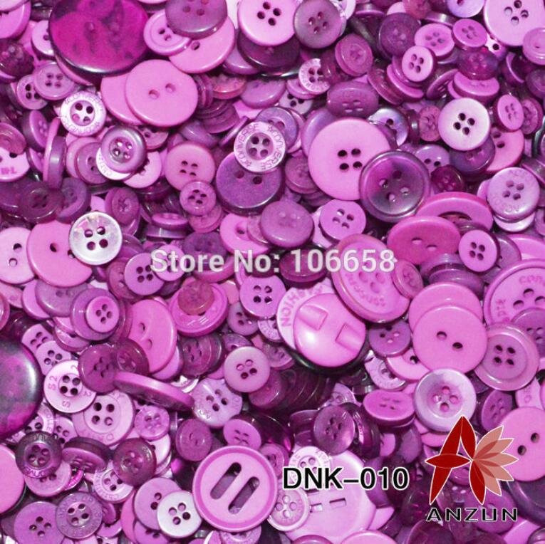 Purple buttons mixed sizes 100 grams