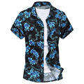 New 2017 summer fashion big floral print short-sleeve shirt men elastic material casual shirt camisa masculina size m-6xl /DCS5