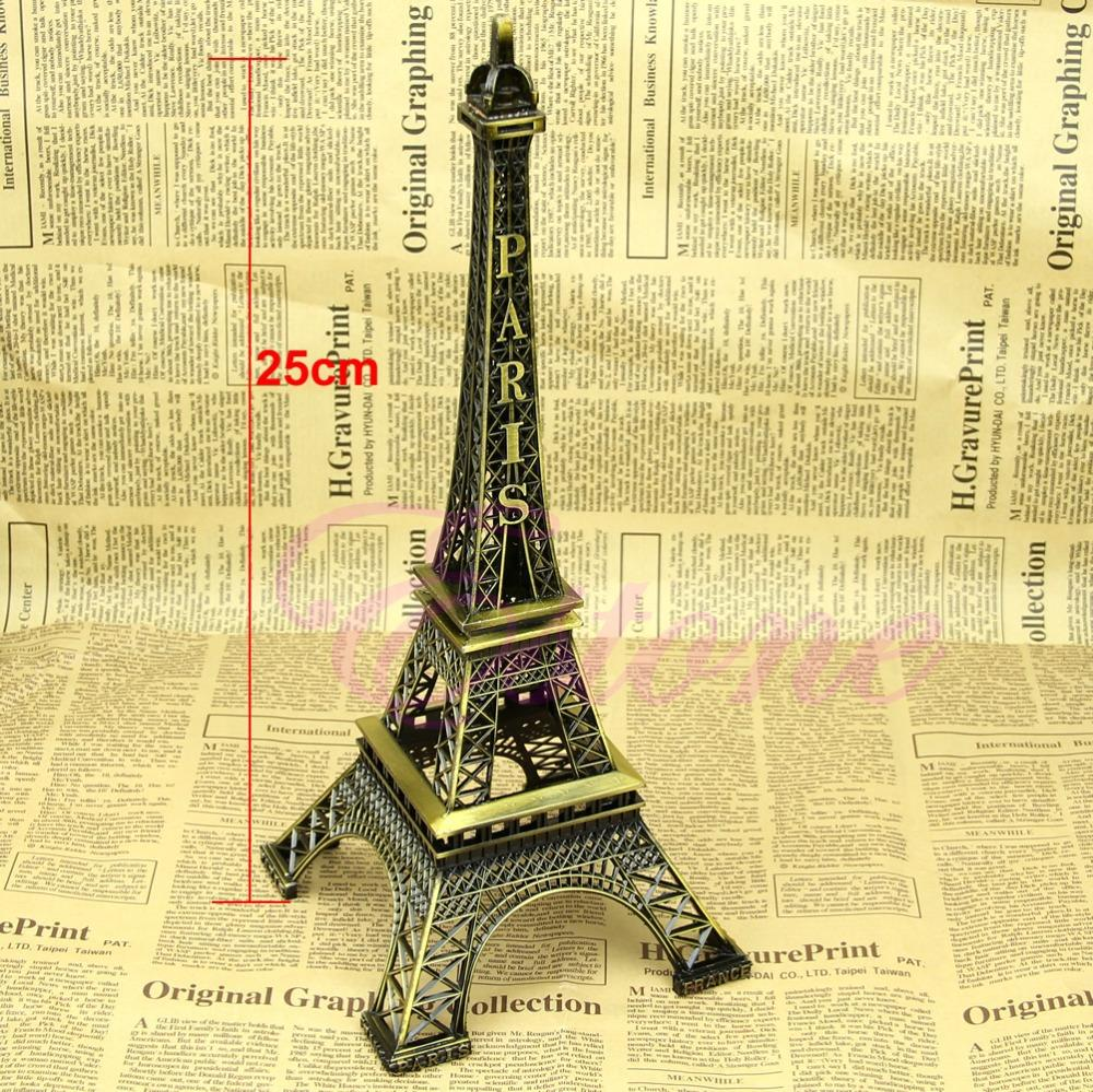 Alloy Model Decor Vintage Bronze Tone Paris Eiffel Tower Figurine Statue 25cm Hot