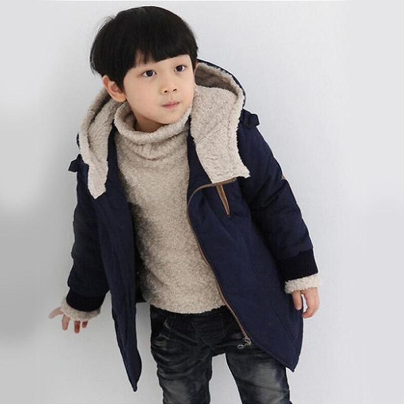 Winter Warm Boys Hooded Wool Outerwear Baby Boy Jackets Children Coat Sporty Kids Clothes Thick Cotton Autumn Teenage Clothing стоимость