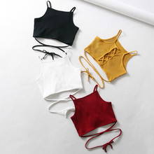 Women tank top 2019 Summer Sexy top Club Knitted Rib Camis Short Sexy Bandage tops Women bodycon clothes цена