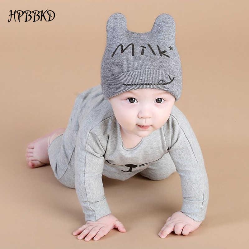 HPBBKDฤดูใบไม้ร่วงฤดูหนาว0-12monthsเด็กหมวกผ้าฝ้ายหมวกหมวกเด็กวัยหัดเดินทารกเด็กสาวเด็กถักหมวกเด็กหมวกและหมวกGH392