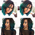 Black Roots twotone synthetic short wigs for black women 1B to dark green Short Bob Synthetic Lace Front Wig Heat Resistant Hair