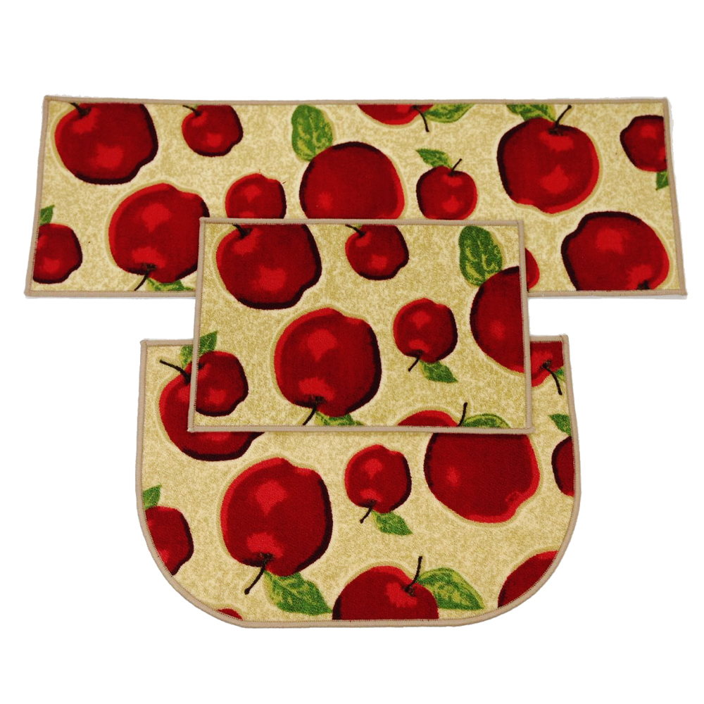 washable kitchen rug lg appliances reviews 3 pcs/2pcs/1pcs rubber backing non slip red apple ...