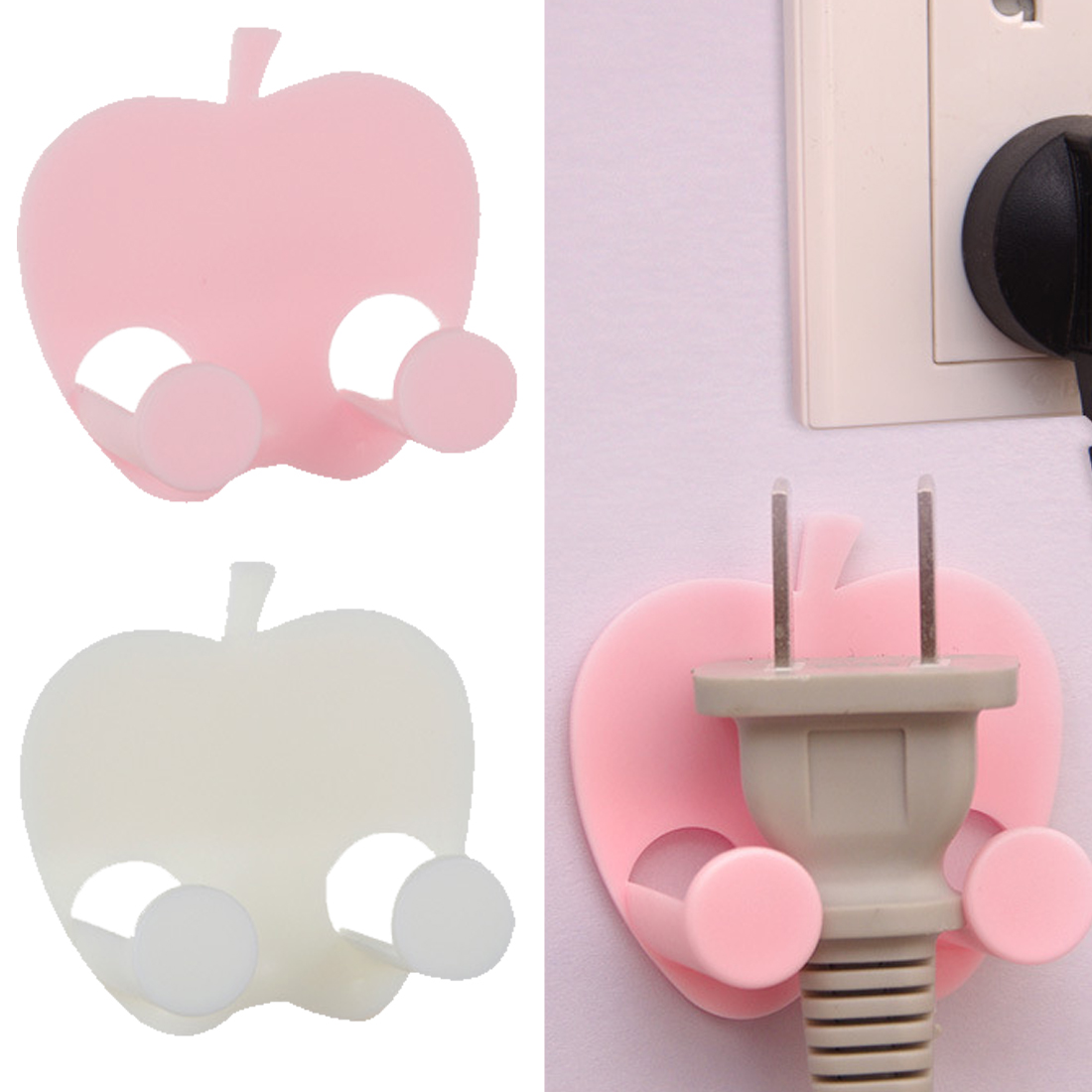 Power Plug Socket Apple Shape Hook Rack Holder Hanger Home Wall Decor Organizer Multifunctional Adhesive Hook