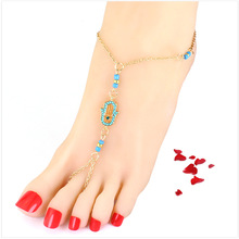 2016New Design Luck Hamsa Hand Anklets Gold Plated Link Chain Beads Pendant feet chain for women jewelry