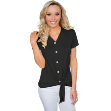 FREE SHIPPING !! V Neck Button Shirts Tie Up Bow Tshirt JKP1002