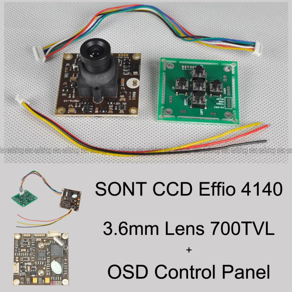 FPV 700TVL Sony Super HAD II CCD WDR Board Mini RC Camera+OSD Control  Panel+3.6mm lens For RC