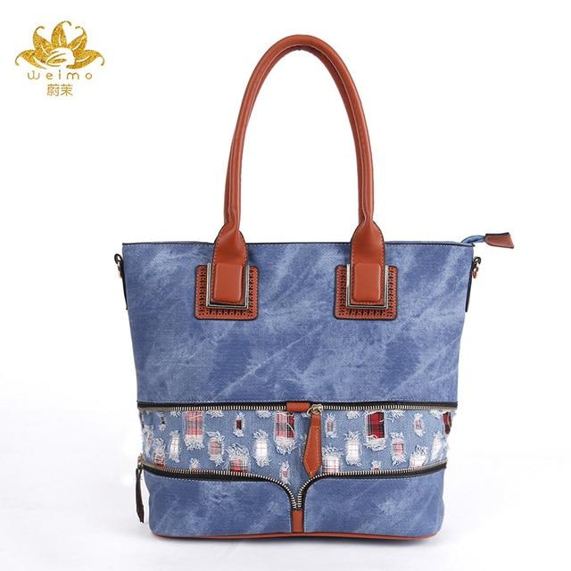 Designer Denim Handbags Large Women Messenger Bags Purses Jean Bags Women Big Hobos Ladies Travel Hand Bags Tote Cross Body Bag