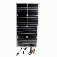 24W Solar Panel Double 12V USB Portable Power Bank Board External Battery Charging Solar Cell Board Crocodile Clips Car charger