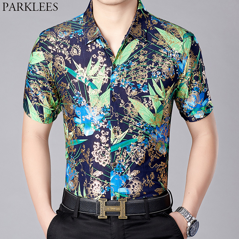 Shiny Floral Bronzing Silk Shirt Men 2019 New Slim Fit Short Sleeve Mens Dress Shirts Casual Party Male Social Shirt Camisas 3XL