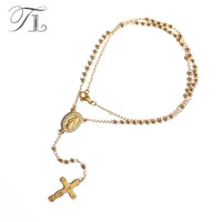 TL New Gold&Silver Stainless Steel Cross Necklace Long Chain Necklace Oval Jesus Pendant Link with Unique Cross Necklace For Men