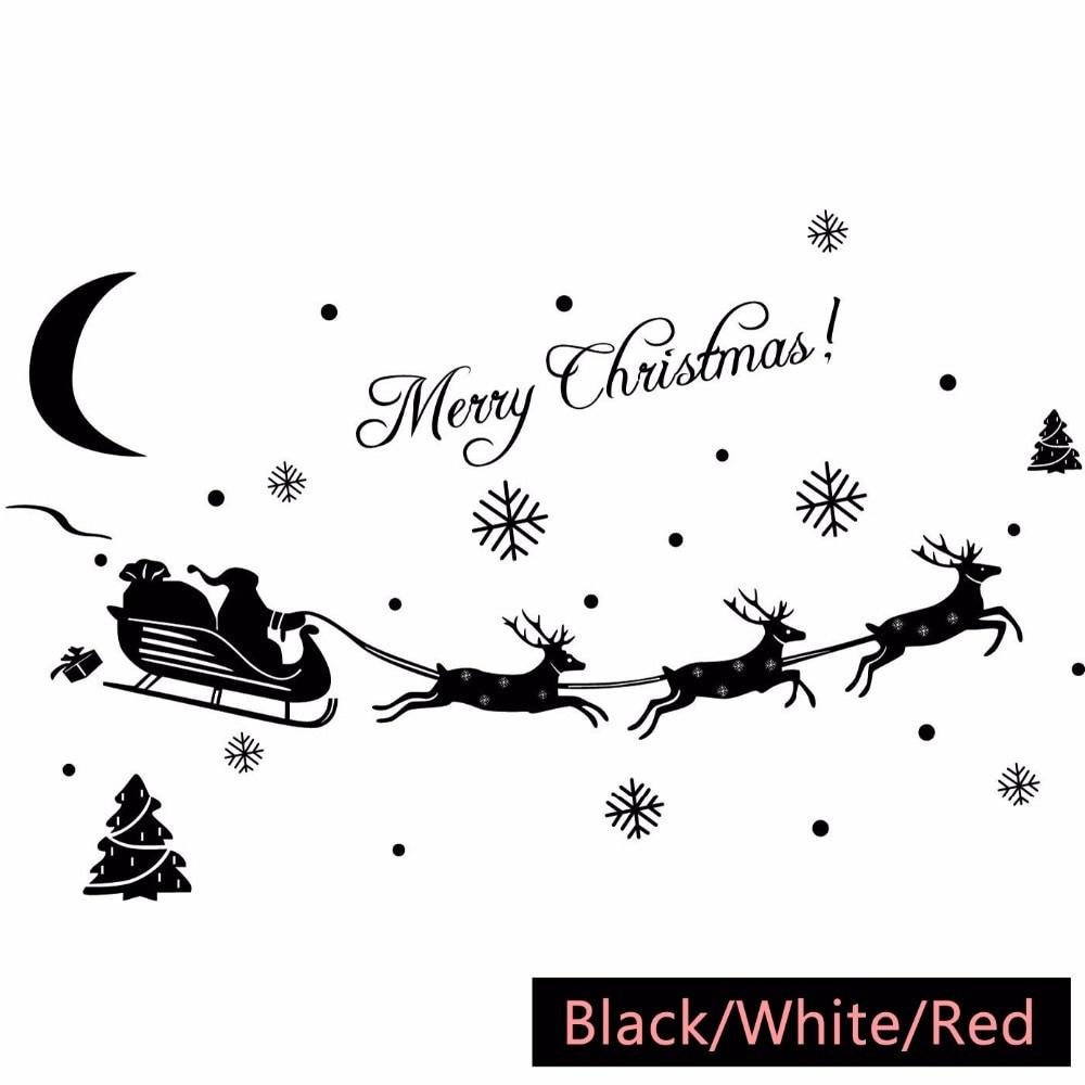 Merry Christmas Santa Claus Snowflake Reindeer Wall Stickers Glass