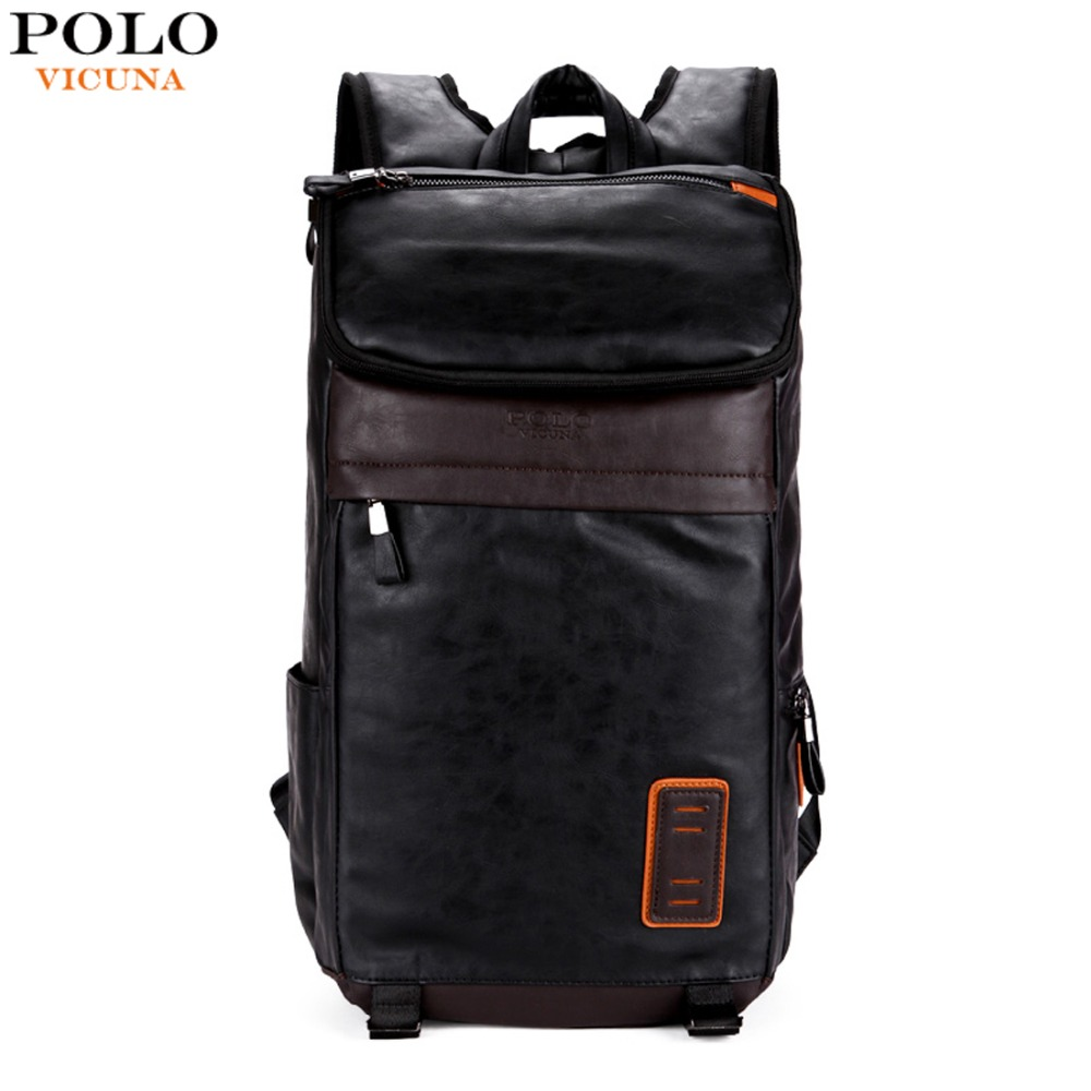 VICUNA POLO Casual High Quality Leather Man Backpacks Fashion Large Capacity Men Backpack mochilas Patchwork Men's Laptop Bags