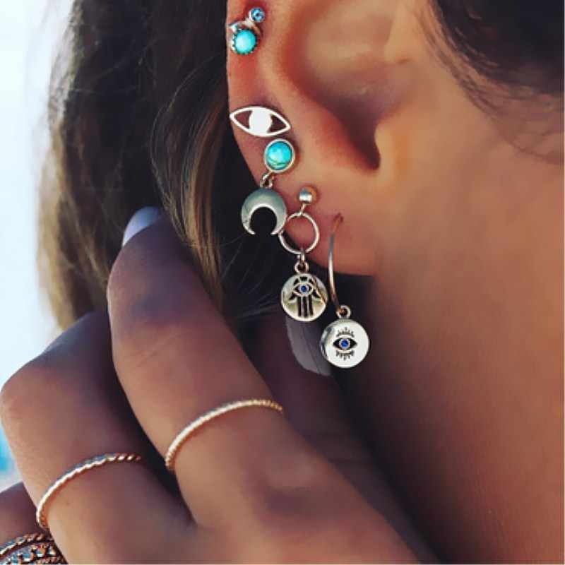 Nova moda ouro estrela lua forma brincos simples orelha anel étnico jóias presente cristal redondo brincos geométricos para mulher bijoux