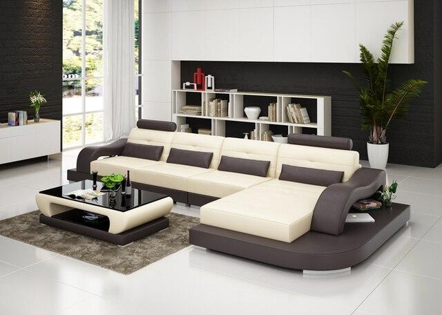 Novo design em Forma de L-de Couro Sala De estar Mobiliário Sofá Secional G8005C