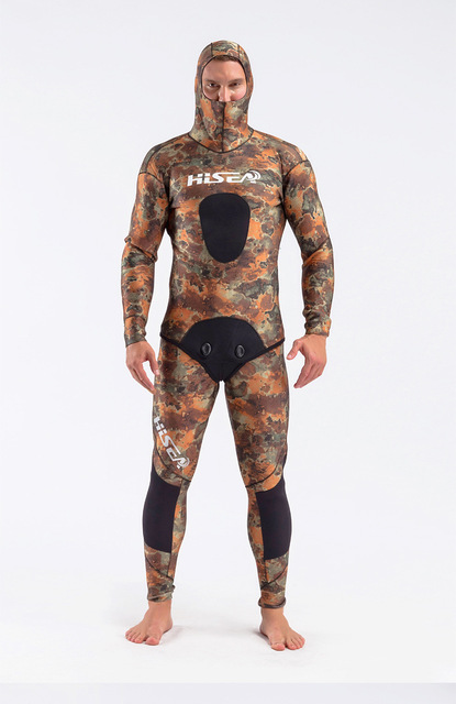 Hisea 3.5mm wetsuits men spearfishing  suit camo neoprene suit Split wetsuit Fishing and hunting clothing OPEN CELL