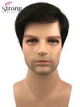 StrongBeauty טבעי גבר קצר שחור סינטטי שיער פאה גברים של מלא פאה