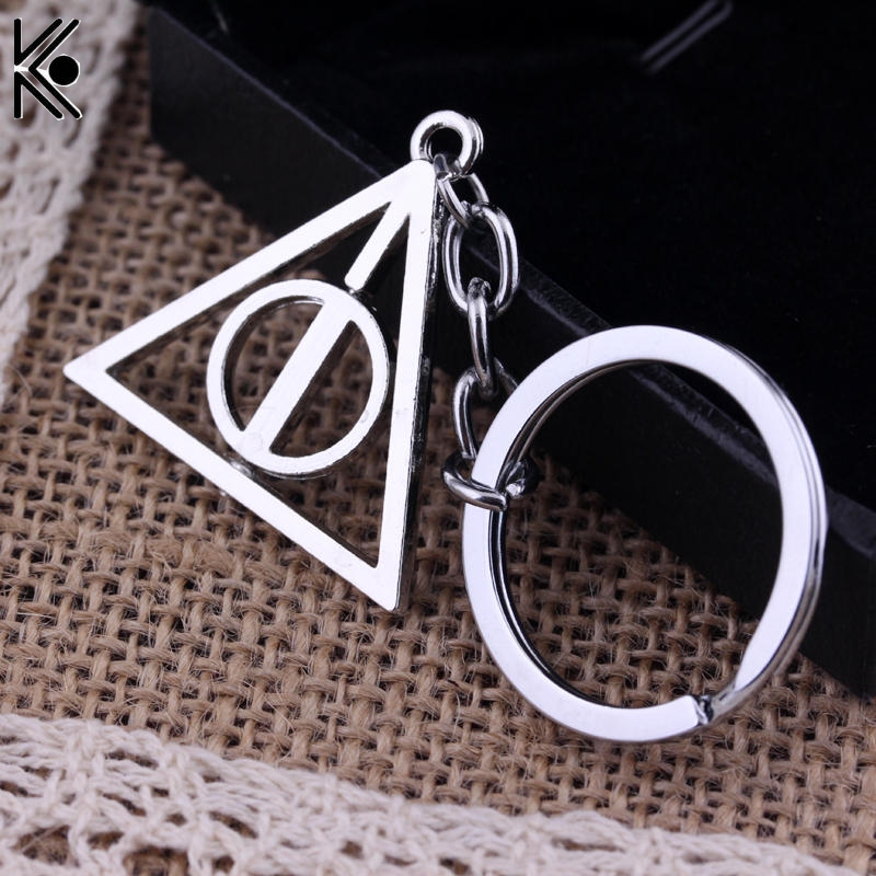 Deathly Hallows pendant Keychain Luna rotating triangle key chain Key Rings For Gift Chaveiro Car Keychain Jewelry the legend of zelda key chain link key rings for gift chaveiro car keychain jewelry game key holder souvenir ys11491