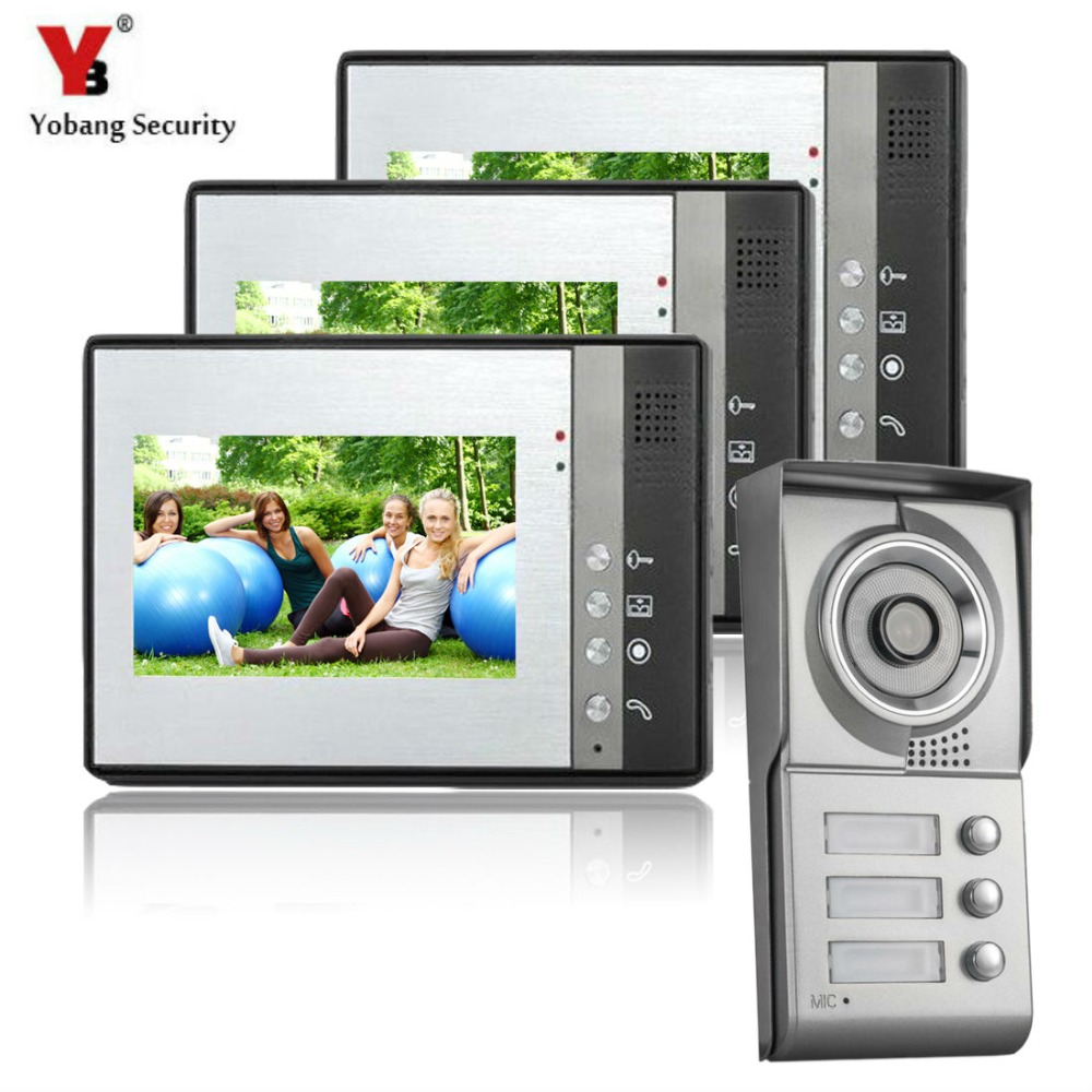 YobangSecurity 7 Inch Color LCD Video Door Phone Doorbell Intercom Entry System Kit 3-Monitor 1-Camera For 3 Apartment yobangsecurity villa apartment eye door bell 7tft lcd color video door phone doorbell intercom system 1 camera 3 monitor