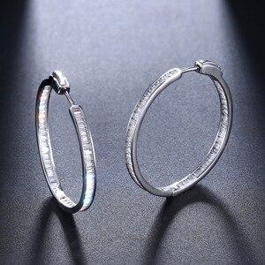 Image 4 - Luxo 38mm de diâmetro real prata hoop brinco t quadrado cz jóias 925 prata esterlina grande círculo brincos para noite barra festa