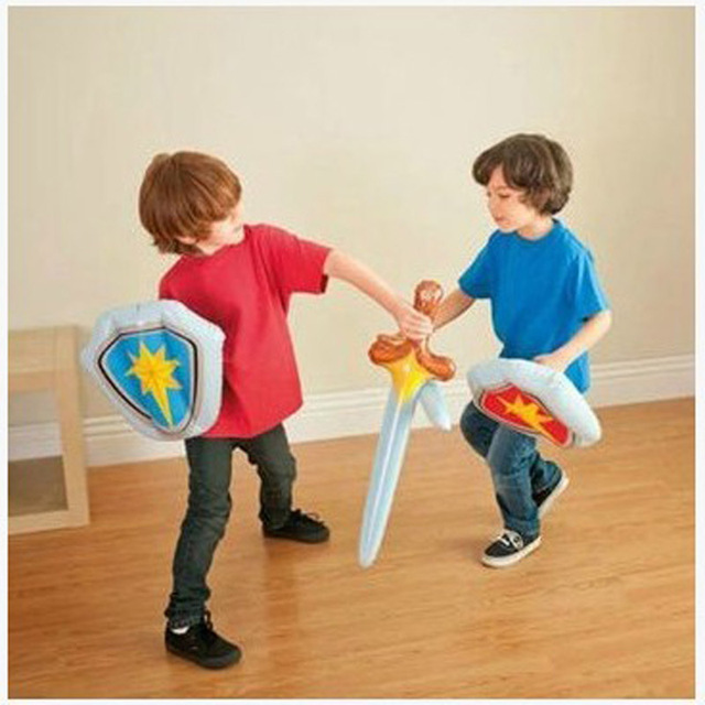 2sets Inflatable Toys Kid Sword Shield Sets Not Wounding Weapon Baby Indoor Play Children 1 Order