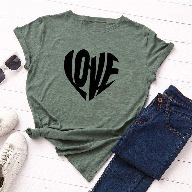 Plus Size S-5XL Fasion Cactus Love Letter Print T Shirt Women 100% Cotton O Neck Short Sleeve Summer T-Shirt Tops Casual Tshirt