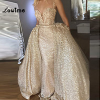 Из двух частей Шампанское Золото длинный Выпускные платья Abiye Русалка Саудовская Аравия Вечернее платье со съемной поезд Ближний Восток ве