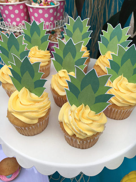 Pineapple Cupcake Toppers Birthday Party Decorations Kids Paper