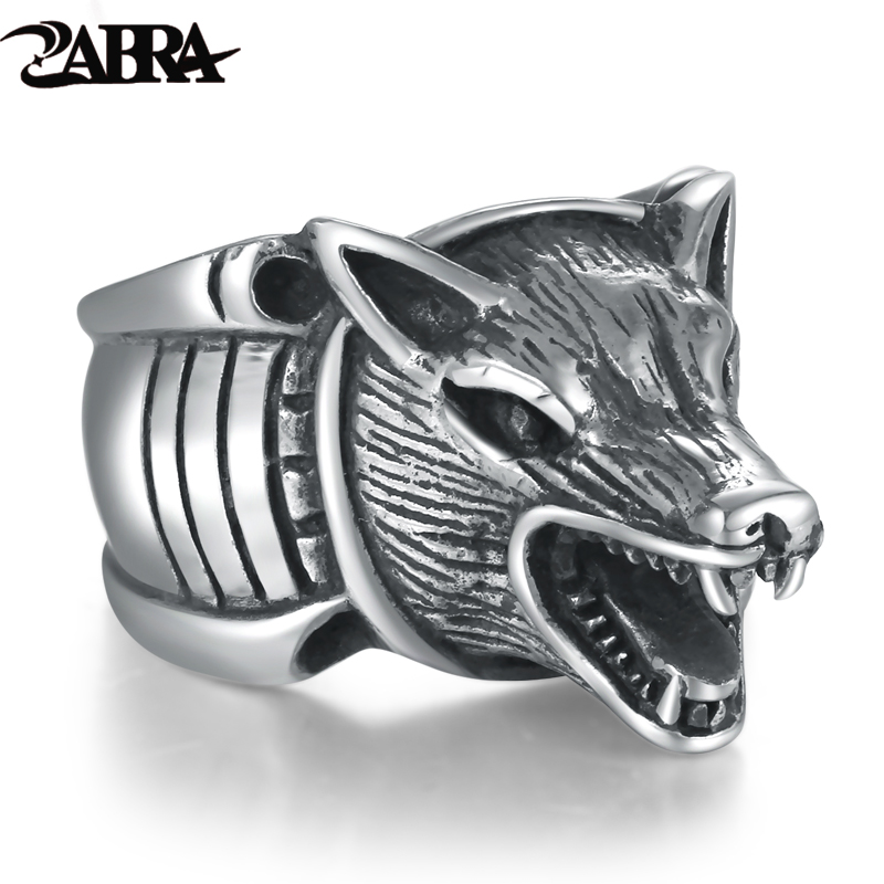 ZABRA 925 Sterling Silver Cool Wolf Howling Silhouette Men Ring Vintage Punk Retro Domineering Biker Men Sterling Silver Jewelry майка борцовка print bar howling wolf