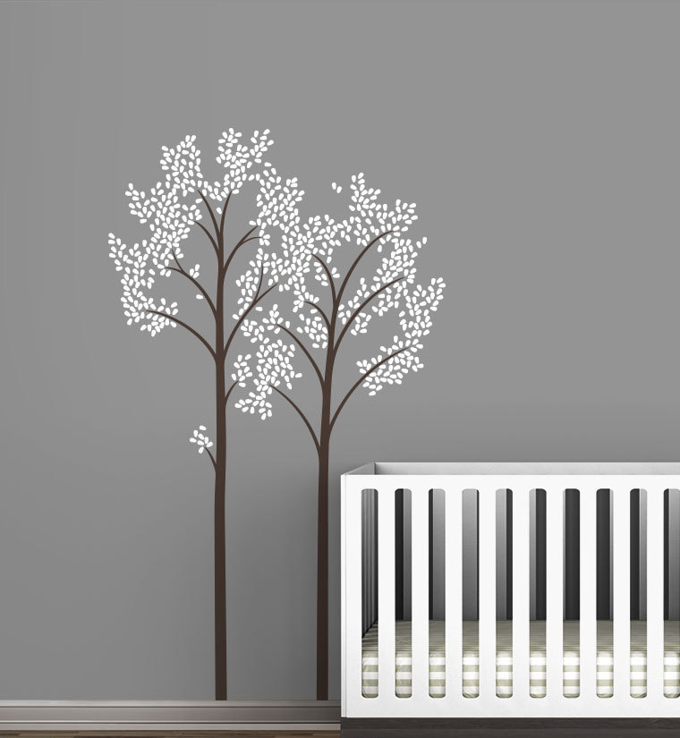 Large Two Trees With Fall Leaves Wall Decals Modern Kids Baby Room