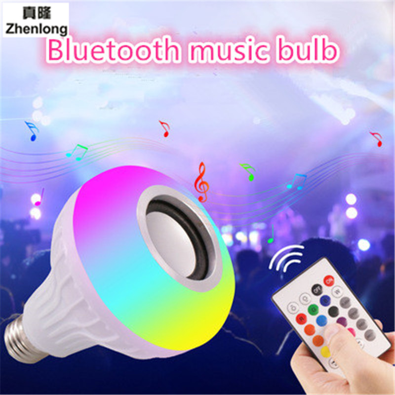 E27 Smart Wireless Bluetooth Speaker Music Playing LED RGB Music Bulb Colorful Dimmable 12W LED Bulb Lampada For Holiday Light smuxi e27 led rgb wireless bluetooth speaker music smart light bulb 15w playing lamp remote control decor for ios android
