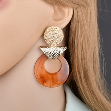 1 pair Metal geometric resin retro circle trend earrings jewelry direct sales