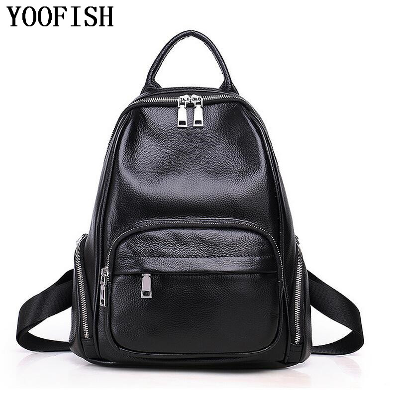 Fashion Casual  Women Backpack Bag High Quality Soft Genuine Leather Backpacks for Teenage Girls Female School Shoulder Bag Bagp brand bag backpack female genuine leather travel bag women shoulder daypacks hgih quality casual school bags for girl backpacks