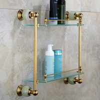 Bathroom Hardware Natural Jade European Style All Copper Gold Shelf Bathroom Pendant Double Glass Makeup Rack