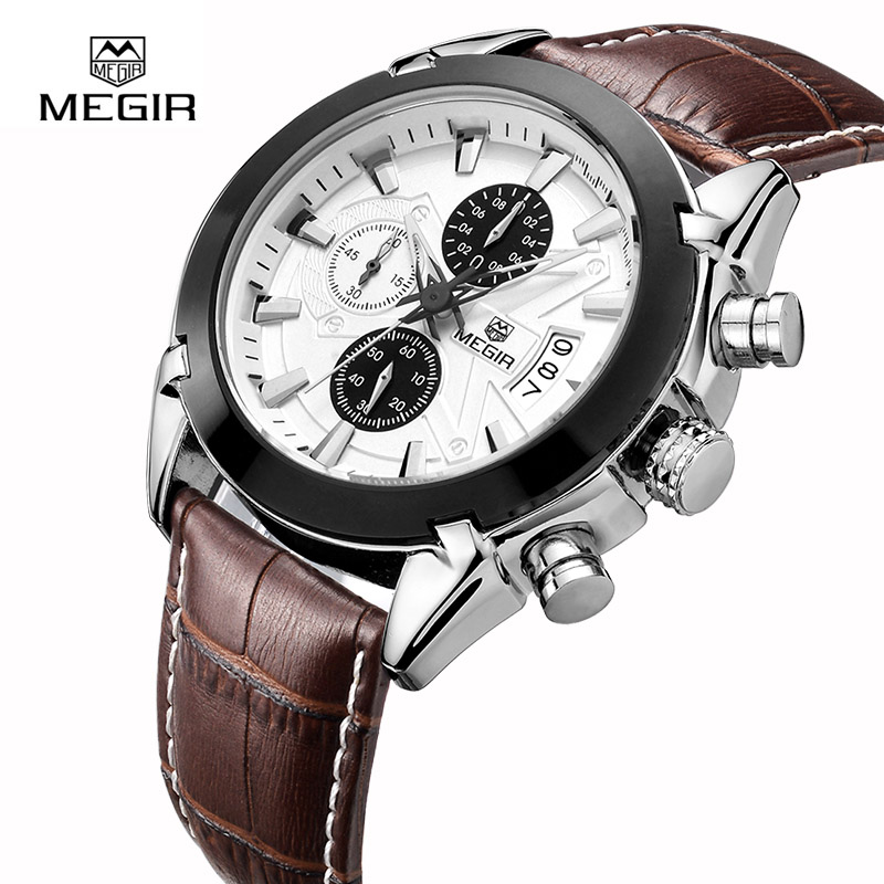 MEGIR Mens Watches Top Brand Luxury Leather Quartz Watch Clock Chronograph Luminous Sport Men Wristwatch reloj homre 2020 megir mens watches leather strap square dial luxury quartz watch clock waterproof sport chronograph wristwatch montre for man