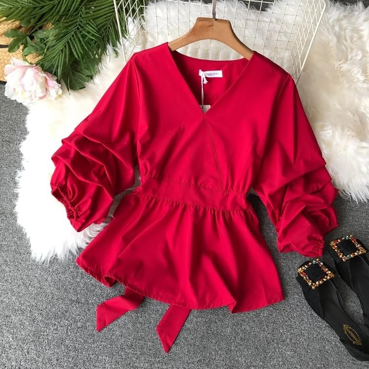 2109 Spring Women V-neck Puff Sleeves Blouse Slim Tunic Tops Retro Vintage Pullovers Busos Para Mujer Kimonos 78