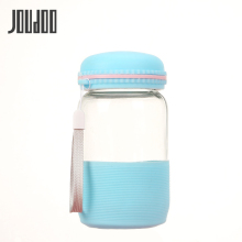 Joudoo 330ml Portable Glass Bottle Creative Transparent Cover Tea Water Bicycle Tour Solid Office 35