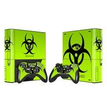 جلد فينيل لاصق حامي ل Xbox 360 E ل مايكروسوفت Xbox 360E Biohazard نمط مع 2 قطعة وحدات تحكم جلود ملصقات