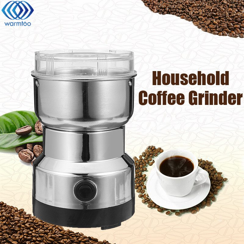 EU Plug Electric Stainless Steel Coffee Bean Grinder Home Grinding Milling Machine 220V Coffee Accessories Kitchenware cukyi 110v 220v household electric coffee roasters 40w power stainless steel coffee bean roasting machine
