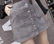 6304f6fcfb 2018 New Womens Skirts Fashion Plaid Femme Single Faldas Female Casual  Brown Gray Skirt Plus Size