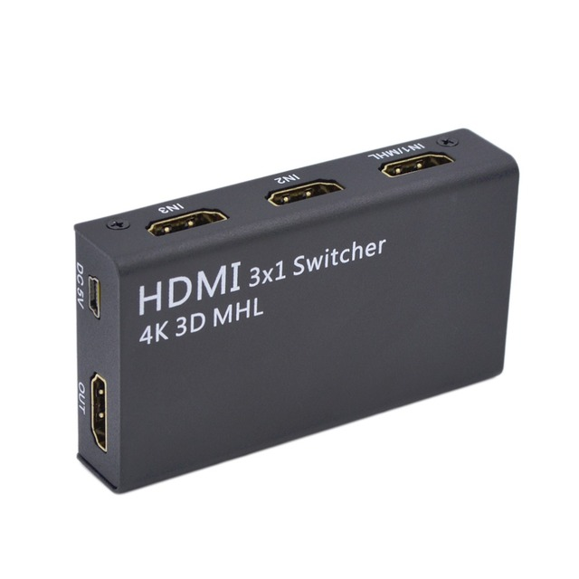 Professional 4K 3D MHL/HDMI Dual Mode 3x1 Switcher Ultra-Low Power Consumption HDMI Switch Switcher HDMI Splitter US Plug